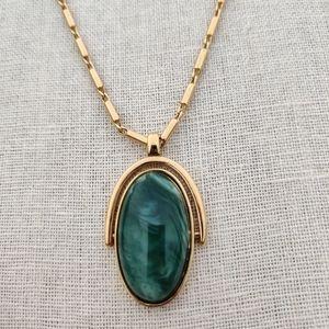Vintage heavy gold filled jade necklace